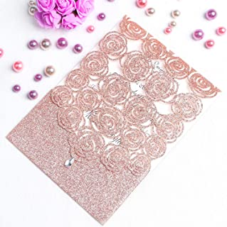 FEIYI 25PCS Laser Cut Invitations Cards Luxury Diamond Gloss Design with Pearl Paper Insert for Wedding, Bridal Shower, Engagement Birthday Graduation Invite (Rose Gold Glitter)