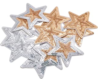 Buorsa Sequins Appliques for Clothes Star Embroidered Patches Iron On Patches for Clothing,3 Colors,12 Pieces