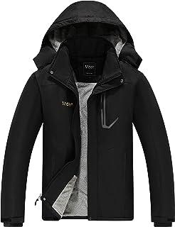 Mden Men's Mountain Waterproof Ski Jacket Windproof Rain Jacket Fleece Snow Winter Coat