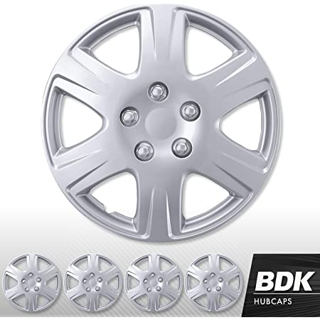 """BDK Wheel Guards Dual Spokes 4 Pack Hubcaps for Car Accessories Wheel Covers Snap Clip-On Auto Tire Rim Replacement for 16 inch Wheels 16/"""" Hub Caps"""
