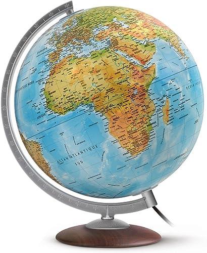 WONDAY Globe terrestre lumineux 30 cm Médium  en RELIEF bleu