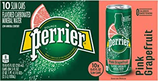 Perrier Sparkling Mineral Water With Natural Pink Grapefruit Flavor Slim Can, 10 x 250 ml