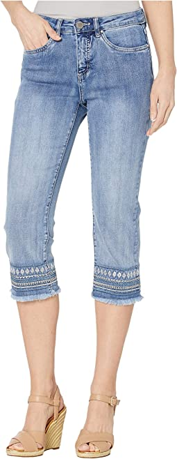 Statement Denim Lower Hem Embroidery Olivia Capris in Moody Blue