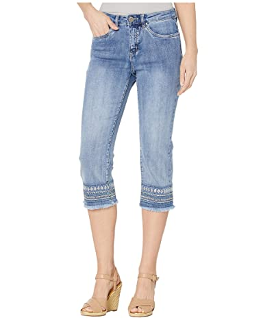 FDJ French Dressing Jeans Statement Denim Lower Hem Embroidery Olivia Capris in Moody Blue (Moody Blue) Women