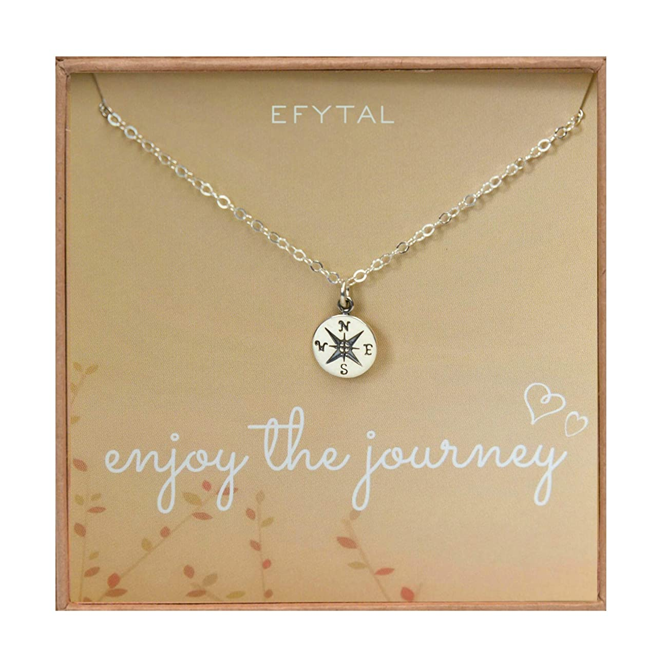 EFYTAL Graduation Gifts for Her, Sterling Silver Compass Necklace on Enjoy The Journey Card, New Grad Gift, Jewelry for Travel or Long Distance For Women