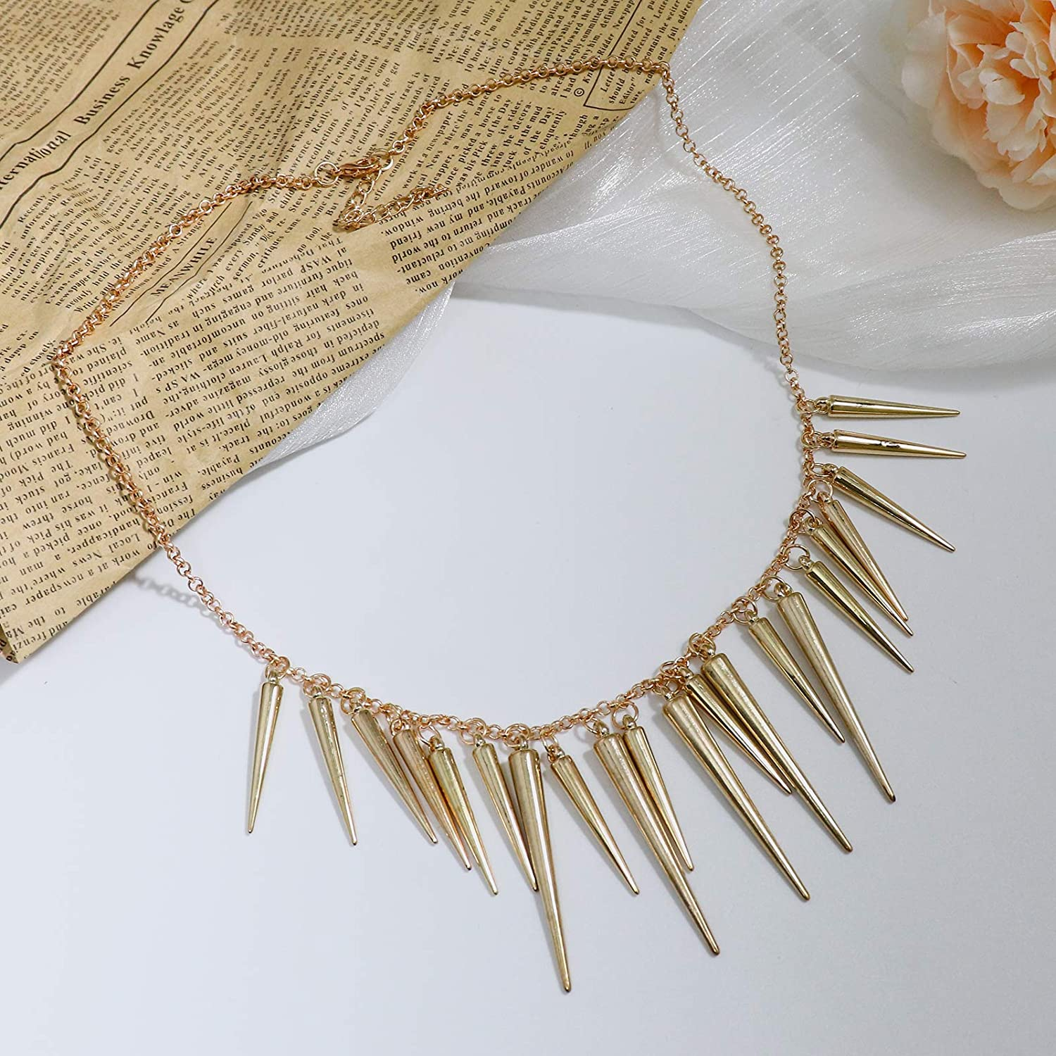 Fashion Spikes Rivets Draped Chunky Collar Necklace for Women Girls Jewelry