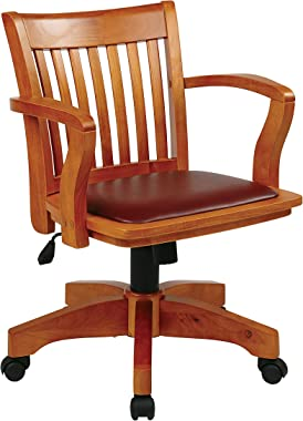 OSP Home Furnishings Deluxe Wood Bankers Desk Chair with Brown Vinyl Padded Seat, Fruit Wood