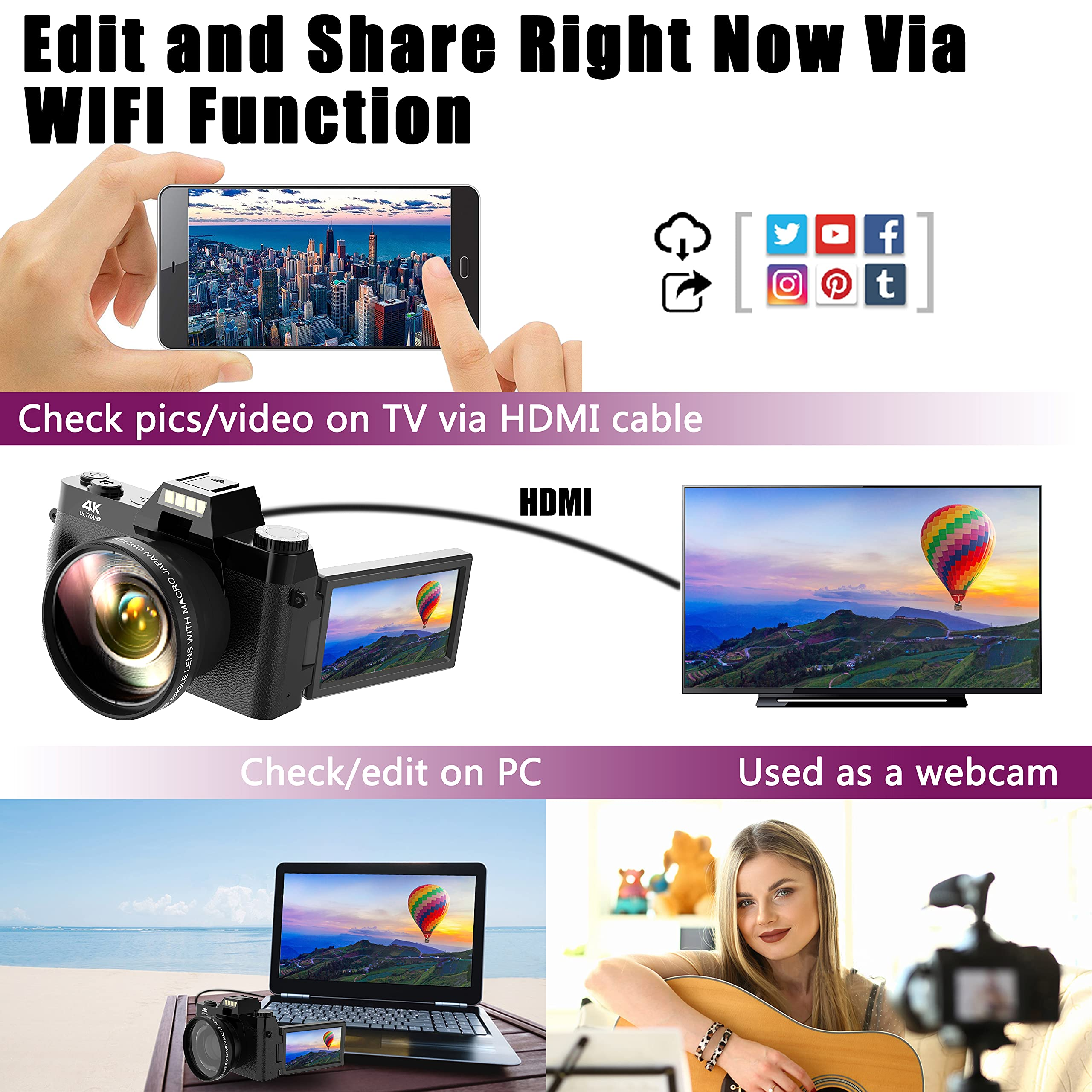 Vlogging Camera, 4K Digital Camera for YouTube with WiFi, 16X Digital Zoom, 180 Degree Flip Screen, Wide Angle Lens, Macro Lens, 2 Batteries and 32GB TF Card