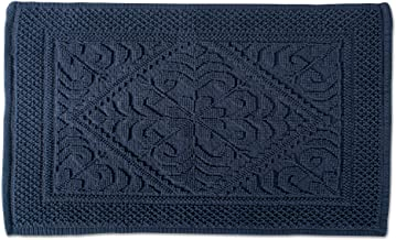 DII 100% Cotton Jaquard Luxury Hotel & Spa Banded Bath Mat for Bathroom, Tub, and Shower, 20x31 - Damask Navy