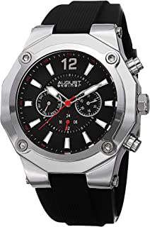 August Steiner Men's Large Urban Watch - Screwed Down Stainless Steel Bezel on Dark Dial with Red Second Hand and Day of W...