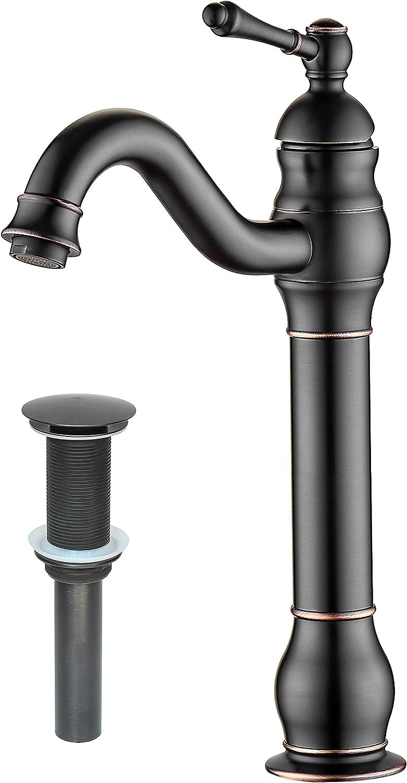 Myhb 360 Swivel Oil Rubbed Bronze Bathroom Vessel Sink Faucet With Pop Up Drain Single Handle Lever Bowl Tap Mixer Amazon Com
