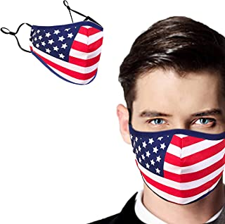 NEWMARK Reusable Face Covering with Filter Pocket, Stylish Cotton Comfortable Breathable Washable Cloth from USA (American Flag Classic - 1 Pack)