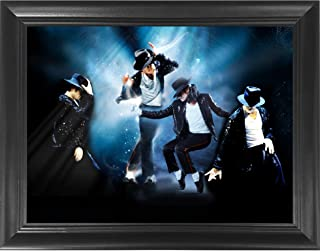 Michael Jackson King of Pop Moonwalk 3D Poster Wall Art Decor Framed Print | 14.5x18.5 | Lenticular Posters & Pictures | Memorabilia Gifts for Guys & Girls Bedroom | Beat it, Thriller & Greatest Hits