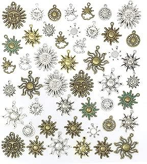 Celestial Sun Charms - JIALEEY 42pcs Mixed Antique Gold Silver Bronze Colors Sun Smile Pendants DIY for Necklace Bracelet Jewelry Making