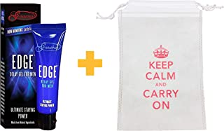 Sensuous Edge Delay Gel + Custom Pouch - Natural, Prolonging and Desensitizing Delay for Men. NO Lidocaine, Non-Numbing Long Lasting! Pocket Size Tube! (7 mL)