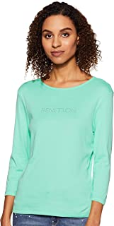 United Colors of Benetton Women's Plain Regular fit T-Shirt (19A3GA2E14C5G_Spring Bud XL)