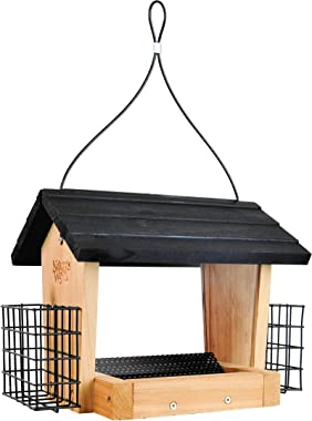 Nature's Way CWF28 Cedar 3 Quart Hopper Bird Feeder with Suet, 10 x 25.5 x 18