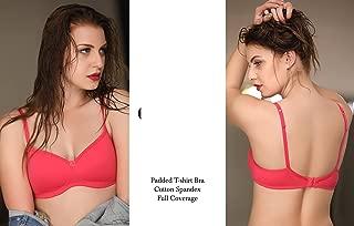 Pink Cotton Spandex Padded Full Coverage Bra Womens Nightwear Suit Intimate Wear Lingerie