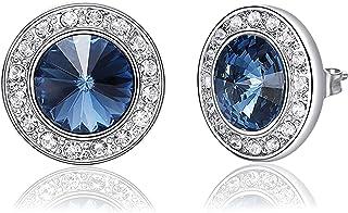 KristLand - Elegante Lujoso Oro Blanco Chapado Prong Redondo Cristal Azul de Swarovski Pendientes Stud para Mujer Boda/Novia/Traje/Caja de Regalo