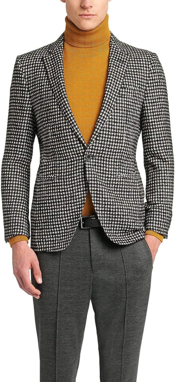 Hugo Boss Men's 'T-Reece' Slim Fit Black White Plaid Wool Alpaca Sport Coat Blazer, 40R