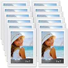 Icona Bay 5x7 Picture Frames (12 Pack, White) Picture Frame Set, Wall Mount or Table Top, Set of 12 Inspirations Collection