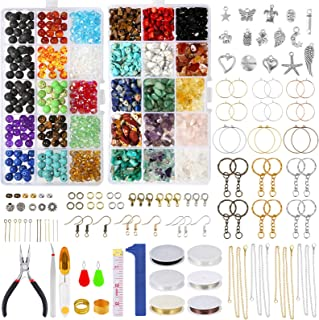 PP OPOUNT 2177 Pieces Natural Gemstone Irregular Crystal Chips Stone Beads with Elastic Strings, Fishing Threads, Wires, S...
