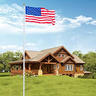 VINGLI Upgraded 25FT Sectional Aluminum Flagpole, Thick Tube Halyard Flag Pole,Kit Free 27~33mph 3'x5' USA American Flag Golden Ball Top Halyard Rope PVC Sleeve, Outdoor Residential Garden Gazebo