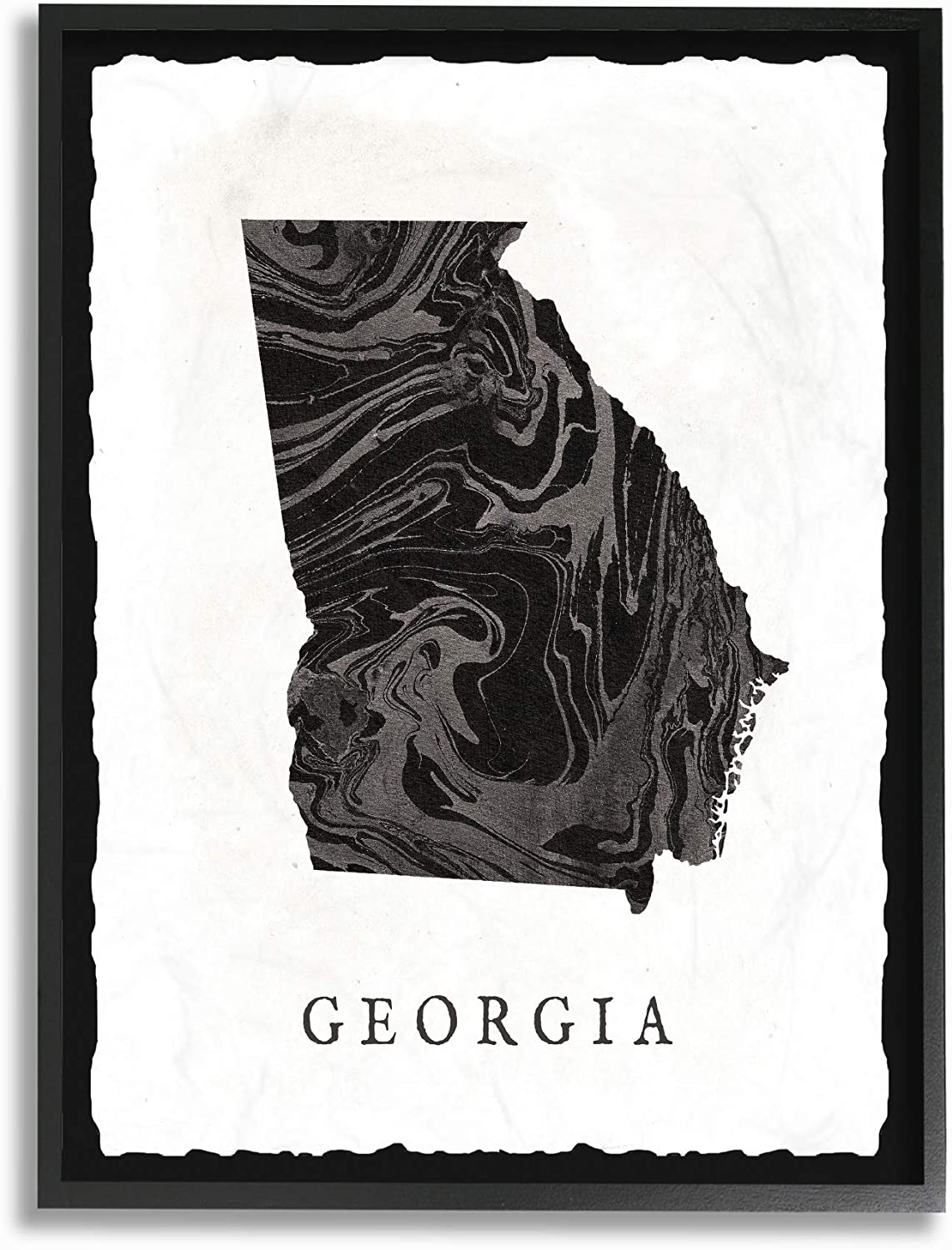 Stupell Industries Home Black and Grey Marbled Paper Georgia State Silhouette Framed Giclee Texturized Art, Multi-color