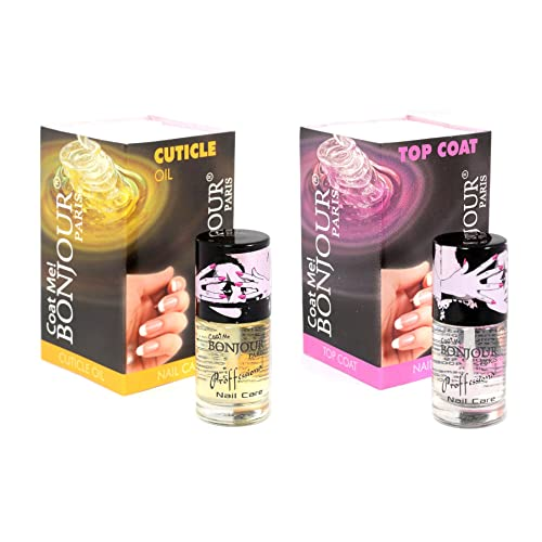 BONJOUR PARIS Cuticle Oil/Top Coat Me Nail Polish with Absolute Nail Care - Set of 2