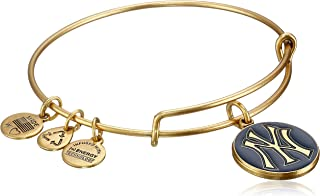 New York Yankees Cap Logo Navy Expandable Rafaelian Gold Bangle Bracelet