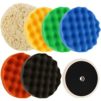 """TCP Global Ultimate 6 Pad Buffing and Polishing Kit with 6-8"""" Pads; 5 Waffle Foam & 1 Wool Grip Pads and a 5/8"""" Threaded Polisher Grip Backing Plate"""