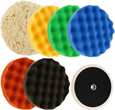 """TCP Global Ultimate 6 Pad Buffing and Polishing Kit with 6-8"""" Pads; 5 Waffle Foam & 1 Wool Grip Pads and a 5/8"""" Threaded Polisher Grip Backing Plate: image"""