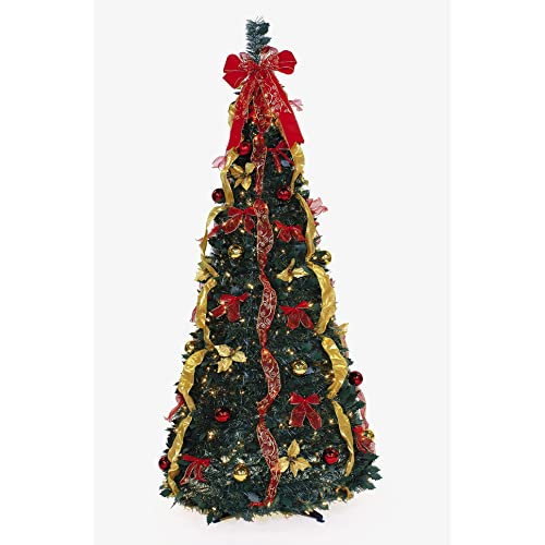 Ben & Jonah Let It Snow Collection 6' 350Lt Pop-Up Red/Gold - Easy Christmas Tree: Amazon.com