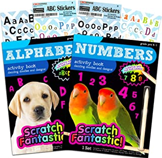 Numbers and Alphabet Scratch Art Book Set for Kids Toddlers -- 2 Deluxe Reveal Scratch Books for Toddlers for Early Learni...