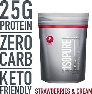 Isopure Zero Carb, Keto Friendly Protein Powder, 100% Whey Protein Isolate, Flavor: Strawberries & Cream, 1 Pound