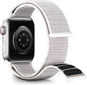 Nylon Velcro Band Compatible with Apple Watch Bands 38mm 40mm 41mm 42mm 44mm 45mm, Adjustable Breathable Men Women Braided Strap Compatible for iWatch Series 7/6/5/4/3/2/1 SE Seashell(Patents Pending)