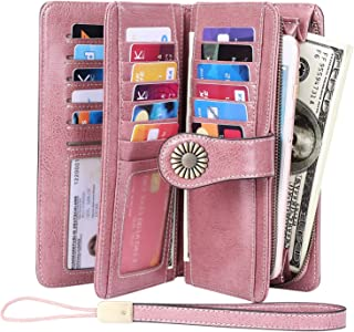 KELEEL Women's RFID Blocking Wallet Genuine Leather Clutch Wallet Card Holder Organizer Ladies Purse