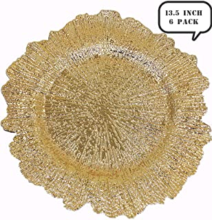 USA Party Flower Elegant Plastic Reef Charger Plate, Set of 6 (GOLD, 13.5 inch)