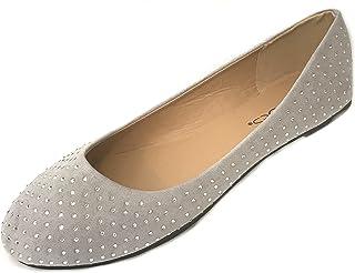 أحذية 18 النسائية من الجلد الصناعي المدبوغ بأحجار الراين أحذية الباليه المسطحة