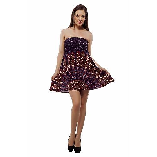 6b43b62bbd4 Indi Bargain Rayon Rajasthani Mandala Jaipur Sanganeri Print 2 in 1 Tube  Top Convertible Skirt -