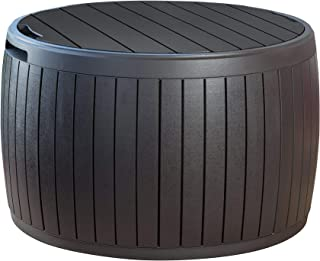 Keter 230897 37 Gallon Circa Natural Wood Style Round Outdoor Storage Table D (Renewed)