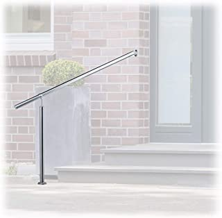 Relaxdays, Silver Stainless Steel Handrail for in-and Outdoor Use, with Wall Fittings and Metal Plugs, 1500mm