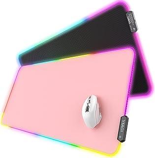 YSAGi RGB Gaming Mauspad XXL 900x400 mm LED Mousepad aus PU-Leder, Große Schreibtischunterlage mit 7 LED Farben 10 Beleuch...