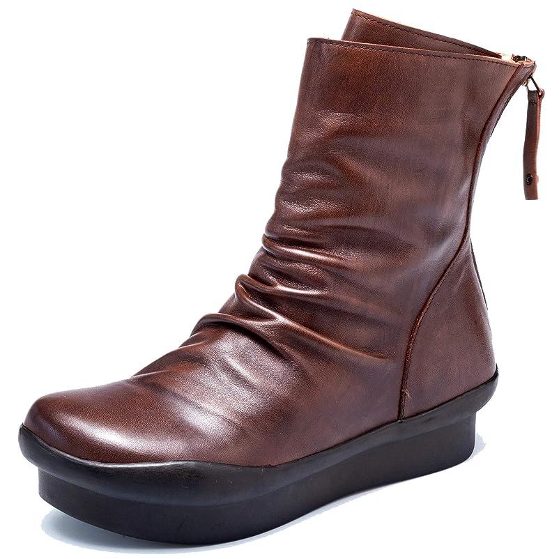 寛大さ私たち安定しました[Maysky] 楽チンで長時間のお出かけやアウトドアにも最適 シャーリング ミドルブーツ 前厚 厚底 足長 歩きやすい 美脚 ローヒール ウェッジソール 本革 柔らか コンフォート 3E 婦人靴 レディース バックジッパー 痛くない ブーツ靴