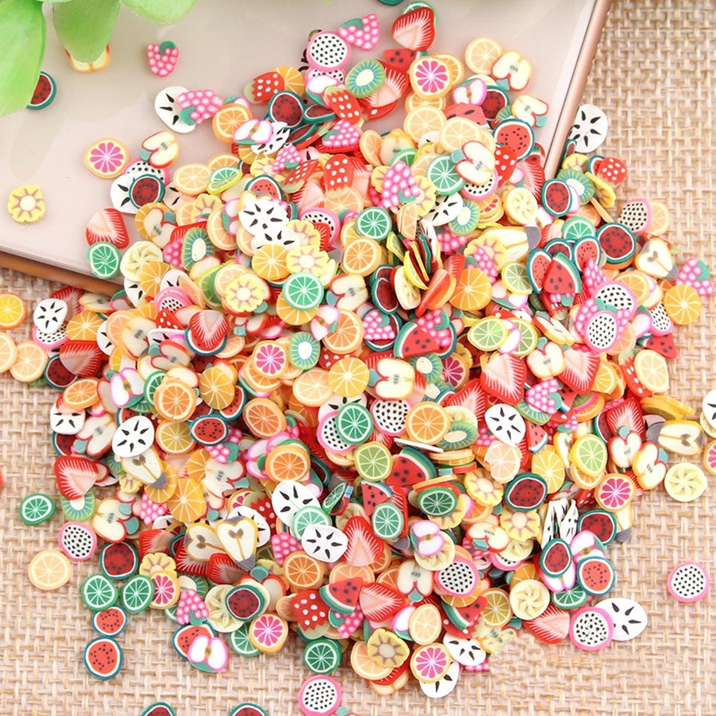 確立腐敗した領域Cikuso 1000個/バッグ Fimo 3Dフルーツ柄のスライス 飾ったネイルアートのデコレーション