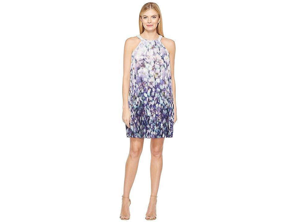 Adrianna Papell Fading Splendor Printed Stretch Chiffon Pleated Trapeze Dress (Purple Multi) Women