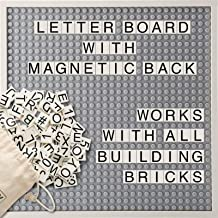 Creative QT Letter Board - Changeable Building Brick Message Board with Letters and Magnetic Backing - Includes More Than 285 StoryBricks, Grey 10 x 10 Inch Square Size
