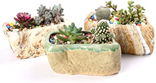 winemana Ceramic Succulent Pots with Drainage, Set of 3 PCS 5.5 in Irregular Rectangle Planter Sturdy Durable, Stone Shape...
