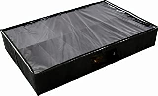 BENIZZA Under Bed Shoe and Clothes Storage Organizer - Customizable & Adjustable Dividers, Perfect Container for Under Bed or Closets, Sturdy Sides and Bottom, Large Shoes, Kids Men Women (Black)
