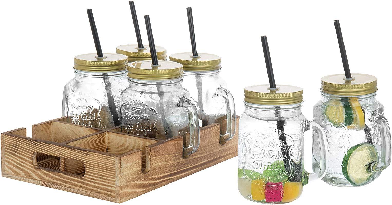 MyGift Mason Jar Mug Glasses With Lids Straws Wood Caddy Brown Set Of 6